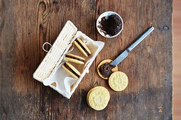 Homemade sandwich biscuits with chocolate cream