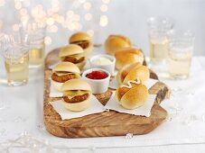 Mini sliders with ketchup and mayonnaise for Christmas