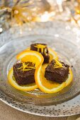 Mini chocolate orange brownies for Christmas
