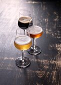 Three types of beer in glasses