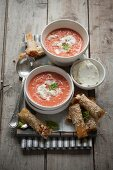 Tomato soup with goat's cheese