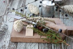 Knife, pine cones dipped in wax, twigs of sloes and sprig of juniper on bread board