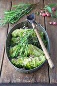 Savoy cabbage roulades with a quince and minced meat filling