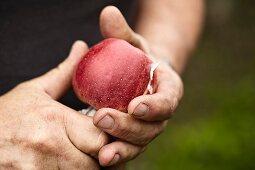 A man cutting an apple with a knife