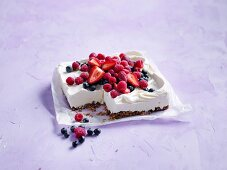 Ice-cream and berry slice