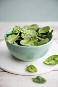 A bowl of fresh spinach leaves