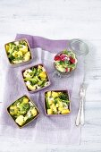 Mini vegetable bakes with curry and mozzarella