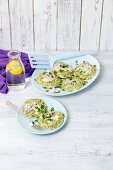Barley and courgette fritters with blue cheese and red onions