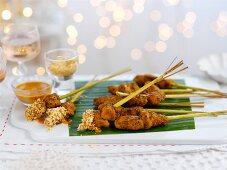 Christmas bang bang chicken: chicken kebabs with a dip (Asia)