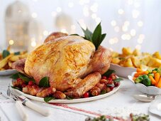 Roast turkey with sides for Christmas