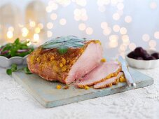 Glazed ham for Christmas, sliced