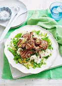 Grilled lamb and mozzarella salad