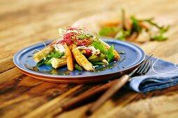Oriental vegetables with chicken breast strips