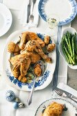 Herb chicken with hasselback potatoes and lemon asparagus for Easter