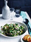 Char-grilled broccoli with feta and charred-lemon dressing, vegetables