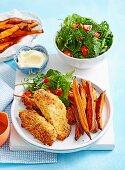 Cripsy Parmesan Chicken with Kumara Chips