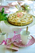 Rhubarb cake on a summer table outside