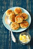 Potato cakes with egg and herbs