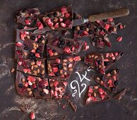 Christmas chocolate with dried fruit