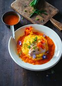 Poached chicken breast on turnip purée with pepper sauce (paleo)
