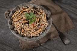 Fried rice with garlic grasshoppers