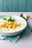 Kefir cold soup with sea buckthorn purée and yellow plums (simply glyx)