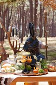 Buffet for kids Easter party in the forest