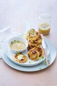 Apple and chorizo pastries with apple sauce