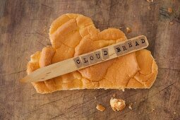 Cloud Bread (carb-free bread) on a wooden surface