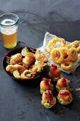 Beer-battered snacks: jalapeño poppers, onion rings and fish nuggets