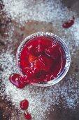 Cranberrykompott im Glas
