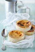 Egg cream desserts in glass bowls