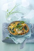 Spinach flan with cod and goat's cheese