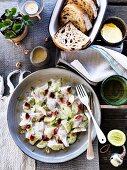 Raw fish, buttermilk, ginger rhubarb and fennel