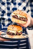 Burger grilled with coleslaw