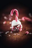A marshmallow with a candy cane and chocolate