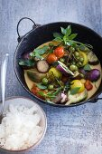 Aubergine curry with rice