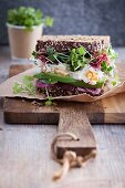 A sprout sandwich with egg, avocado and red onions