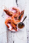 Grilled freshwater prawns with a chilli and garlic dip (Thailand)