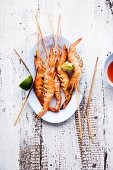 Gung Phauw Siab Maai (grilled prawns skewers, Thailand)