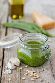 Wild garlic pesto in a flip-top jar