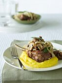 Veal Cutlets with Mushrooms and Polenta