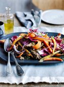 Warm roasted carrot and parsnip salad with rye croutons