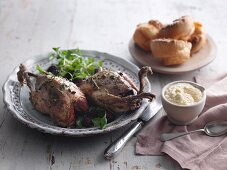 Roast grouse with bread sauce and Yorkshire puddings