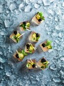Champagne jelly cubes with caviar