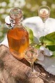Quittenschnaps in Flasche und Gläsern auf altem Holzklotz