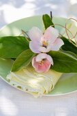 Quince blossom and leaves decorating napkin