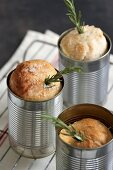 Rosemary bread baked in a tin can