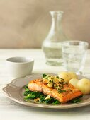 Trout with Almonds and Steamed Spinach