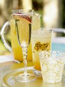 Sparkling wine with peach and sweet granadilla cooler